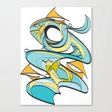Fish & Boat Waves Canvas Print