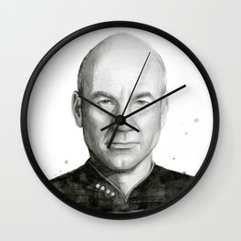 Captain Picard Watercolor Portrait Wall Clock