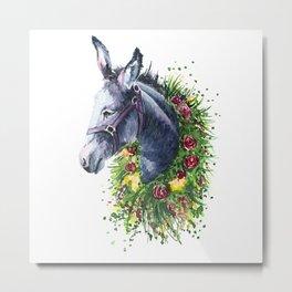 Donkey watercolor Metal Print
