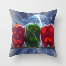 Jack O Lantern Bell Peppers Throw Pillow