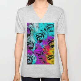 closeup rose texture pattern abstract background in blue purple pink yellow Unisex V-Neck