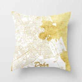 Doha Map Gold Throw Pillow