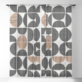 Mid-Century Modern Pattern No.1 - Concrete and Wood Sheer Curtain