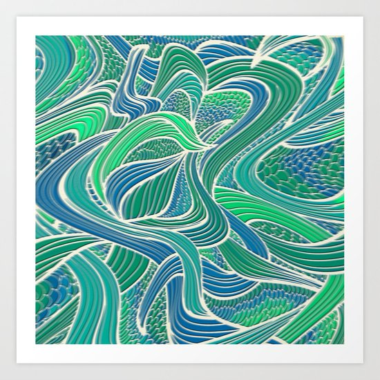 Abstract Wavy Leaves Art Print