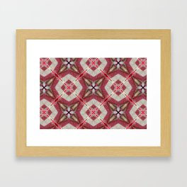 Holiday Red, Cream and Gold Burlap Plaid Pattern Framed Art Print