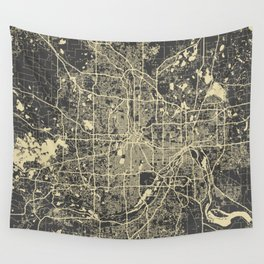 Minneapolis Map yellow Wall Tapestry