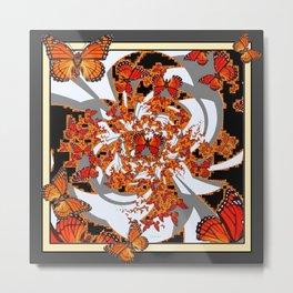 Modern Monarch Butterfly Abstract Art Metal Print