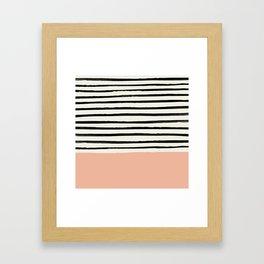 Peach x Stripes Framed Art Print