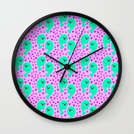 Yellow cute sweet little baby seals in ocean of pink hearts adorable funny animal patter. Nursery. Wall Clock