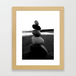 Balancing Rocks on Hornsea Beach Framed Art Print