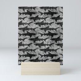 Gray and Black Shark Pattern Mini Art Print