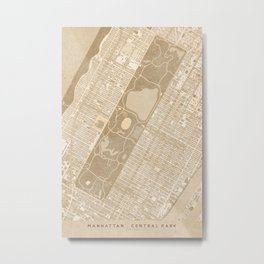 Vintage map of Manhattan Central park in sepia Metal Print