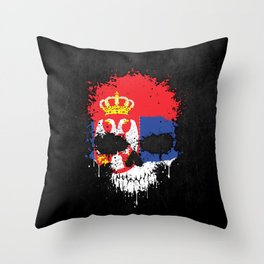 Flag of Serbia on a Chaotic Splatter Skull Throw Pillow