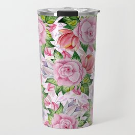 Watercolor pink lavender colorful hand painted roses flowers Travel Mug
