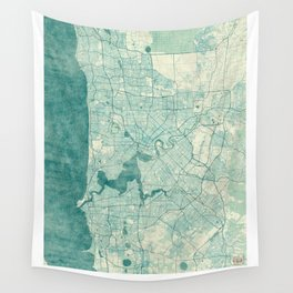 Perth Map Blue Vintage Wall Tapestry
