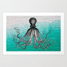 Antique Nautical Steampunk Octopus Vintage Kraken sea monster ombre turquoise blue pastel watercolor Art Print