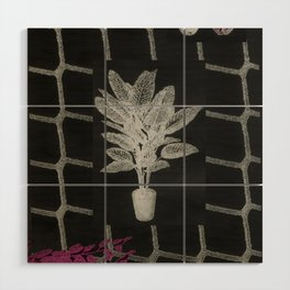 Strong Saints - Magic Dark collage with key, saints, net, shells, plants and grid Wood Wall Art