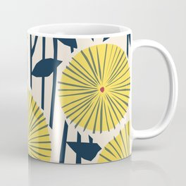 vintage, retro yellow, red and navy flower pattern Coffee Mug