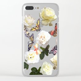 White Roses and Butterflies Clear iPhone Case