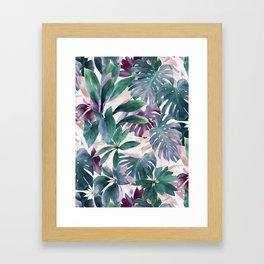 Tropical Emerald Jungle in light cool tones Framed Art Print