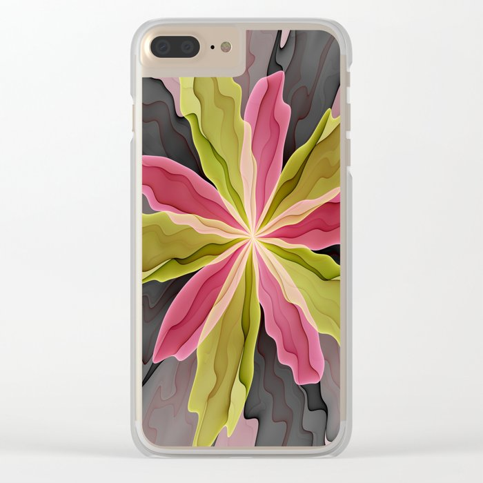 No Sadness, Joy, Fantasy Flower Clear iPhone Case