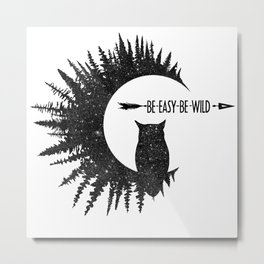 Be Easy Be Owl Metal Print
