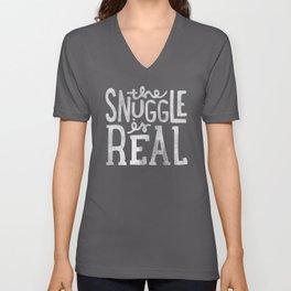 Snuggle is real - black Unisex V-Neck