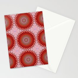 Living Coral Floral Madala Stationery Cards
