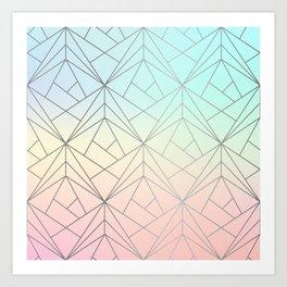 Geometric Silver Pattern on Pastel Gradient Art Print