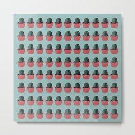 Cactus in Pot Pattern - Gouache Painting Metal Print
