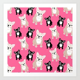 French Bulldog Puppies Pink Art Print
