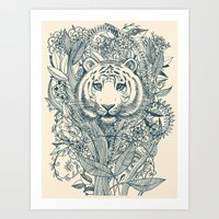 tiger Art Prints featuring Tiger Tangle by micklyn