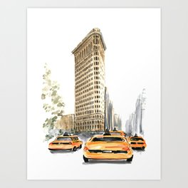 Architecture sketch of the Flatiron building in New york Art Print