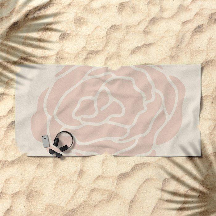 Rose Vintage Pink on Petal Cream Beach Towel
