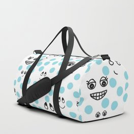 Dots and Smiles Blue Duffle Bag