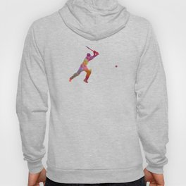 Cricket player batsman silhouette 04 Hoody