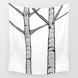 Poplar Tree Illustrated Print Wall Tapestry