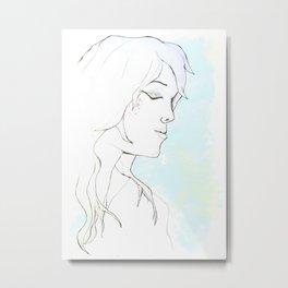 Girl in blue Metal Print