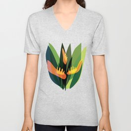 Abstract Tropical Jungle Plants Unisex V-Neck