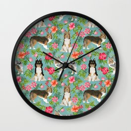 Sheltie shetland sheepdog hawaii floral hibiscus flowers pattern dog breed pet friendly Wall Clock
