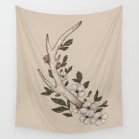 antler Wall Tapestries featuring Floral Antler by Jessica Roux