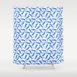 Beautiful blue shiny artistic lizards elegant pattern. Reptile lover. Animal lovers & herpetologist Shower Curtain