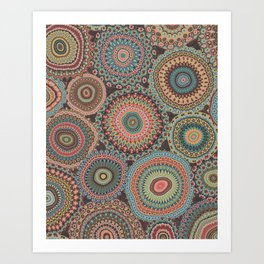 Boho Patchwork-Vintage colors Art Print