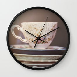 Vintage teacup and old books Wall Clock