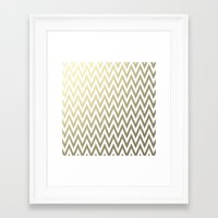 gold foil Framed Art Prints featuring Gold Foil Chevron by Zen and Chic