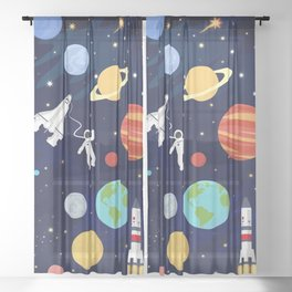 In space Sheer Curtain