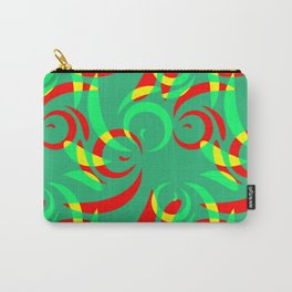Pattern from colored doodles and curls in floral ornament in ethnic style on azure background. Carry-All Pouch