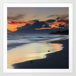 Magic red clouds. Sea dreams Art Print
