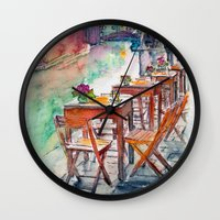 street Wall Clocks featuring Street by Anastasia Tayurskaya