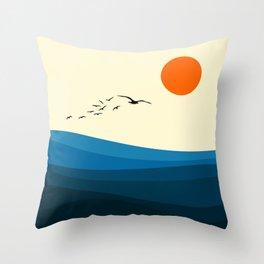 Royal blue ocean Throw Pillow